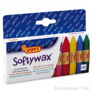 Восъчни пастели 10 цвята Softywax JOVI