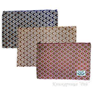 Папка с цип А4+ текстилна - Цветя