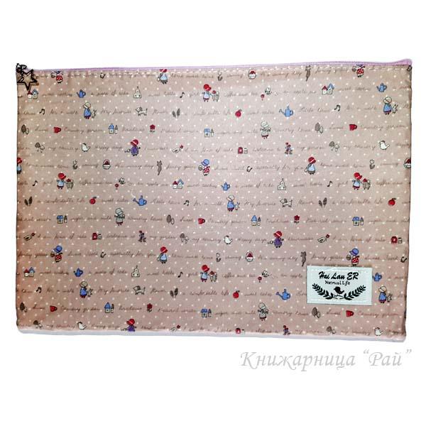 Папка с цип А4+ текстилна - Момиче