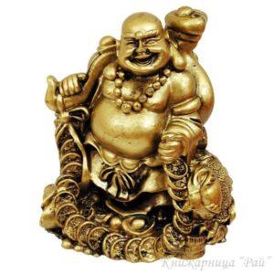 Смеещият се Буда с трикрака жаба
